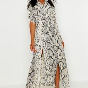 Boohoo snakeskin belted dress